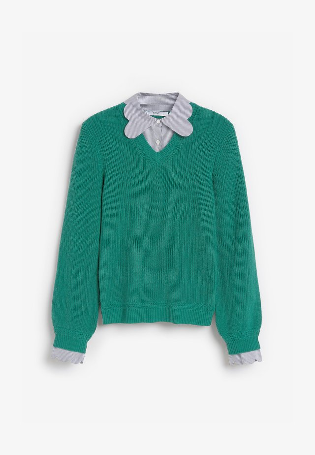 SCALLOP COLLAR LAYER - Sweter - green