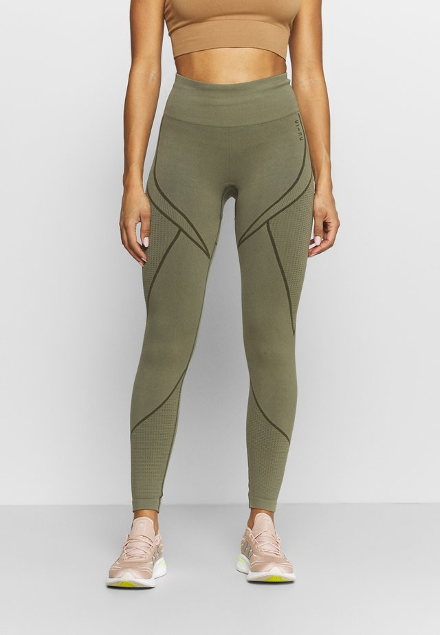 SEAMLESS TWO TONE HIGH WAIST LEGGINGS - Trikoot - green