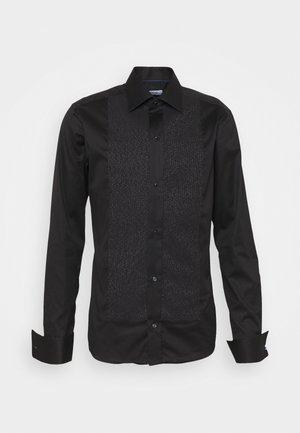 Slim Fit - Glitter Evening Piqué Shirt  - Shirt - black