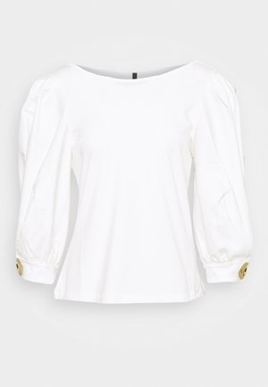 WOVEN SLEEVE AND PLEATS AT CUFF - T-shirt à manches longues - white