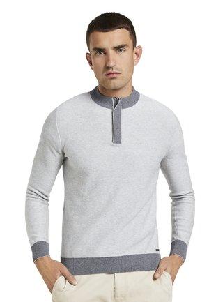 MIT TROYER-KRAGEN - Pullover - light soft grey melange