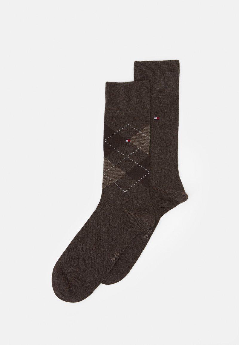 Tommy Hilfiger - MEN SOCK CHECK 2 PACK - Ponožky - oak