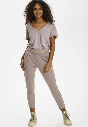 CRANETT  - Pantalones deportivos - faded brown melange