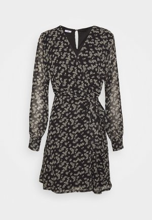 PRINTED WRAP DRESS - Day dress - black/white