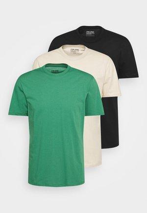 TEE 3 PACK - T-shirts basic - black/beige/green