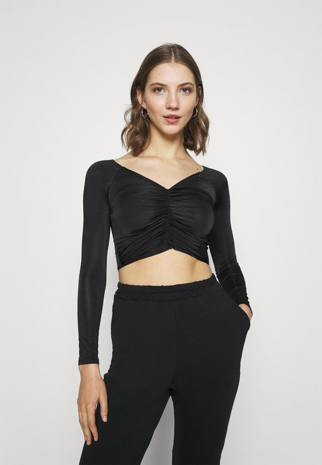 RUCHED FRONT BARDOT CROP - Long sleeved top - black