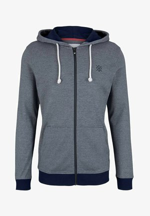 Zip-up hoodie - offwhite navy stripe