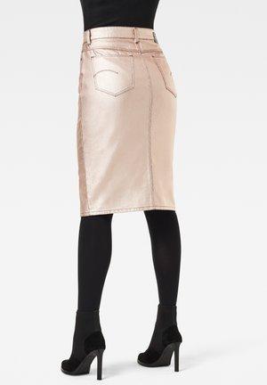NOXER BUTTON - Pencil skirt - gold metallic