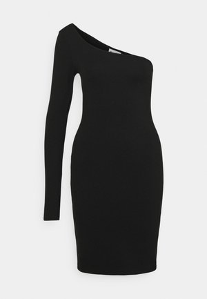 ONE SHOULDER BODYCON DRESS - Pouzdrové šaty - black