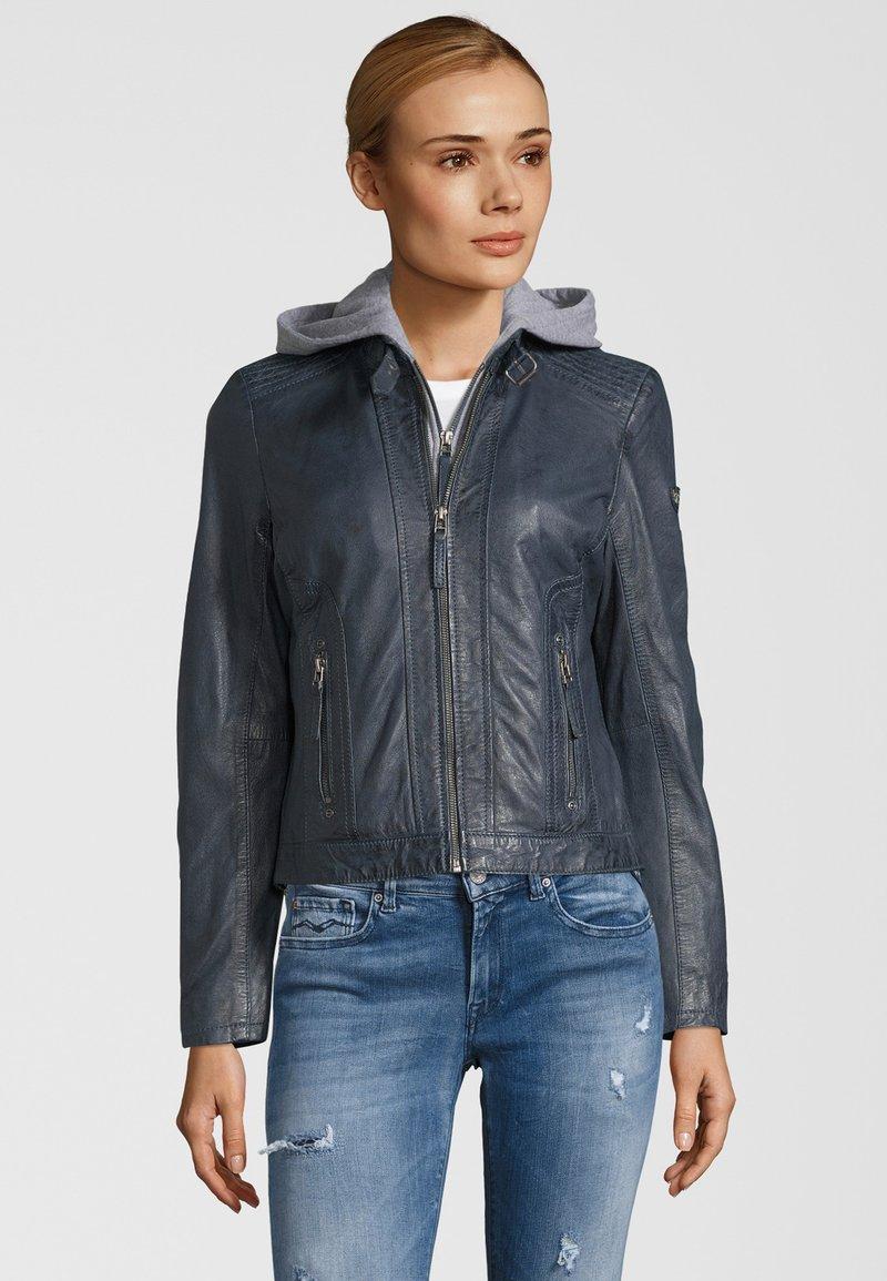 Gipsy - TALIDA - Leather jacket - denim blue