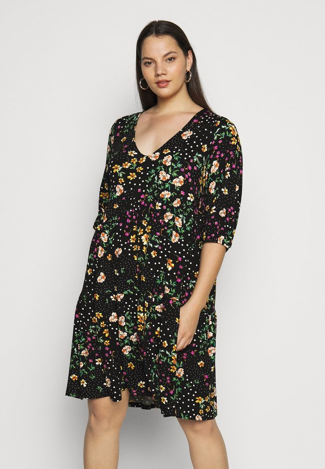 V NECK SMOCK FLORAL DRESS - Jersey dress - multi coloured