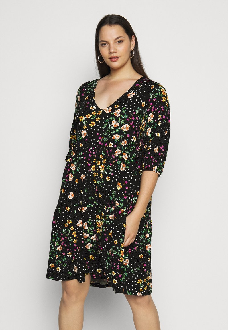 Dorothy Perkins Curve - V NECK SMOCK FLORAL DRESS - Jersey dress - multi coloured