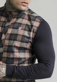 SIKSILK - LONG SLEEVE CHECK GRANDAD - Shirt - navy/tan - 5