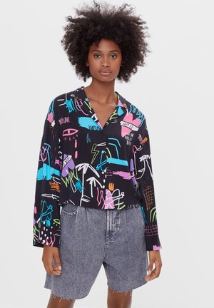 MIT GRAFFITI-PRINT - Button-down blouse - black