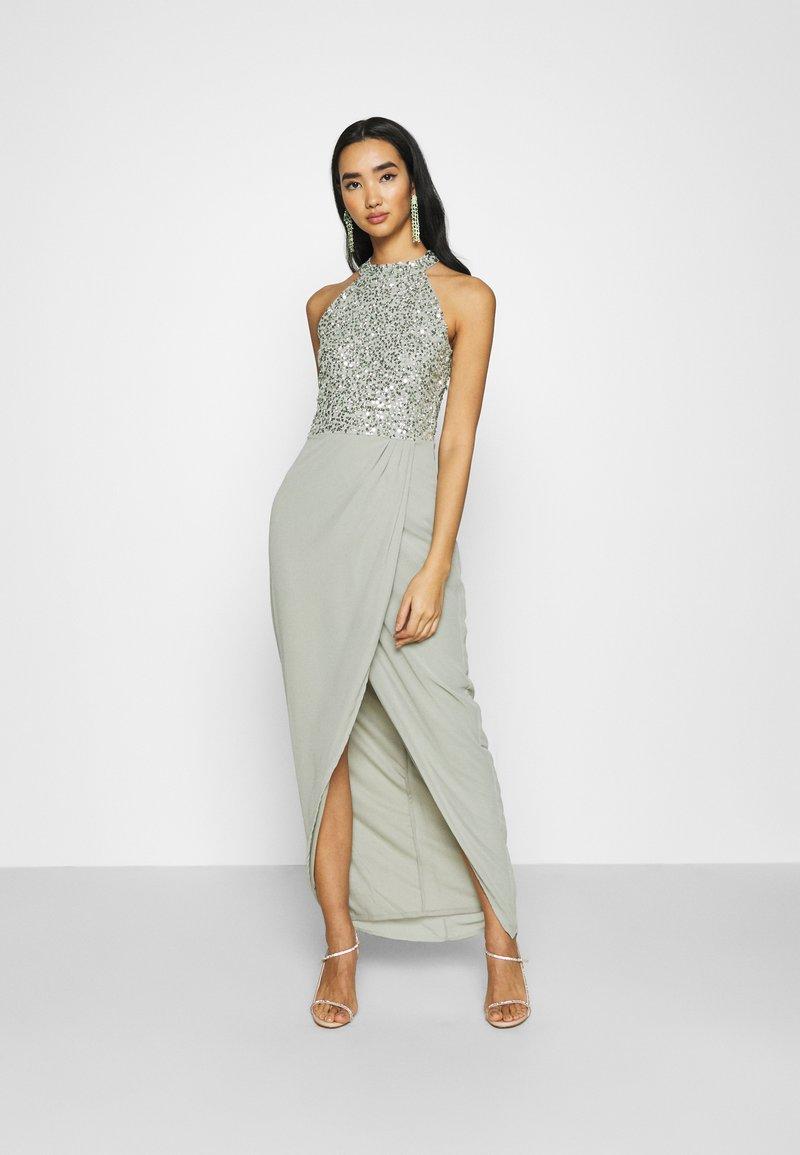 Lace & Beads - AVALON WRAP MAXI - Společenské šaty - sage