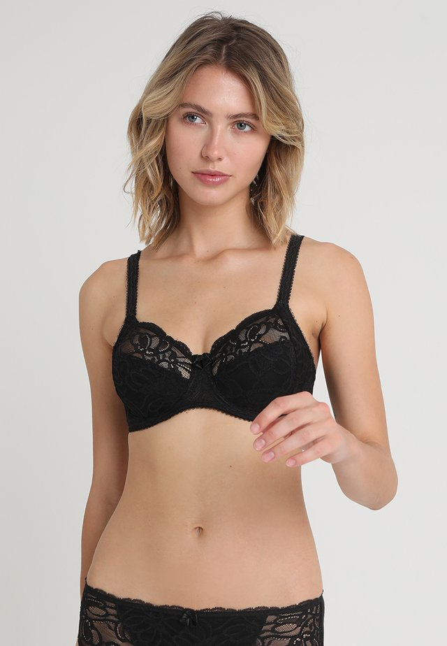 JACQUELINE FULL CUP SIDE SUPPORT BRA - Podprsenka s kosticemi - black
