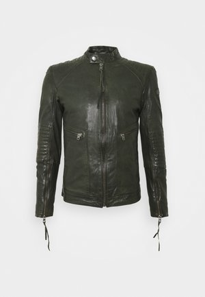 FREDERIK - Leather jacket - khaki