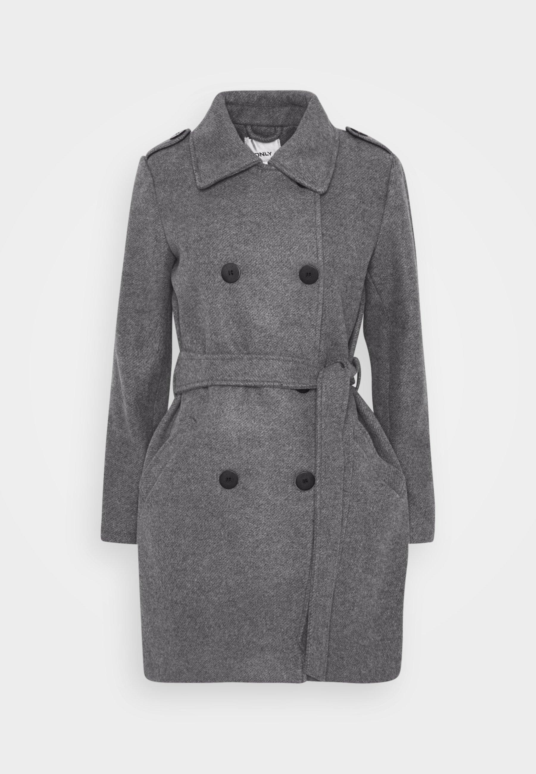 ONLSANSA COAT Halflange jas dark grey melange
