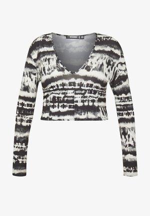 V NECK TIE DYE - Long sleeved top - black