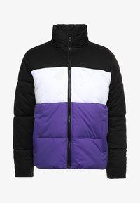BOXY PUFFER JACKET - Zimní bunda - black/ultraviolet/white