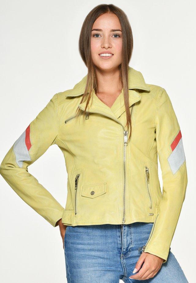 MIT FARBKOMBINATION REEDLEY - Leren jas - yellow