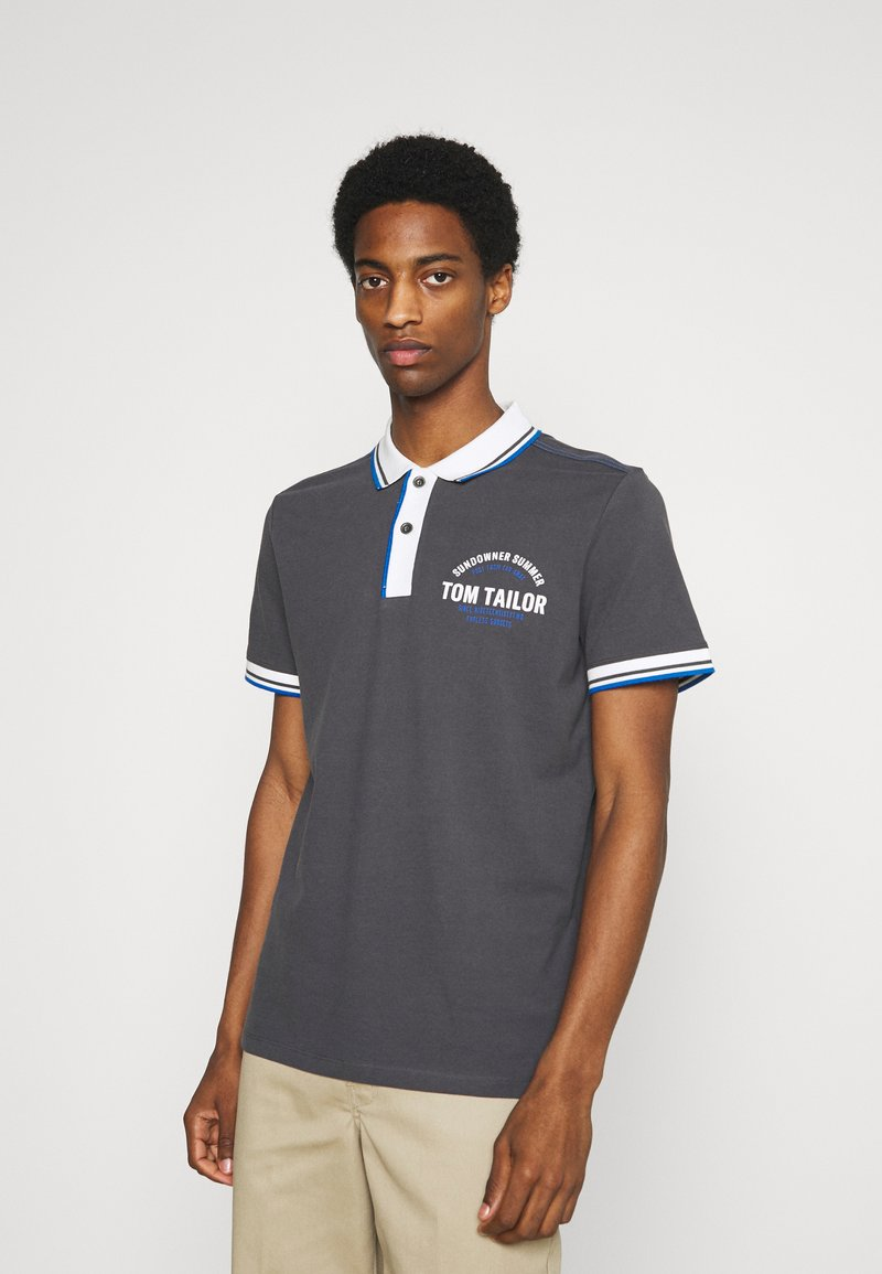 TOM TAILOR - DECORATED - Polo - tarmac grey