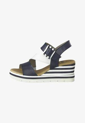 Wedge sandals - navy/white