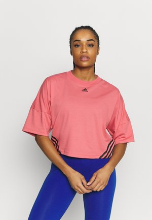 CROPPED TEE  - Printtipaita - hazy rose/black