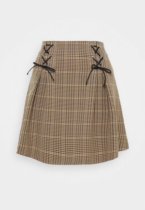 LACE UP CHECK - Mini skirt - multi