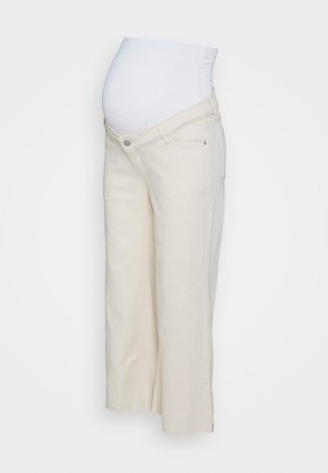 WIDE LEG CROP - Straight leg jeans - ecru