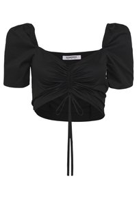 Glamorous - CROP TOP WITH RUCHED DETAIL - Blouse - black - 0