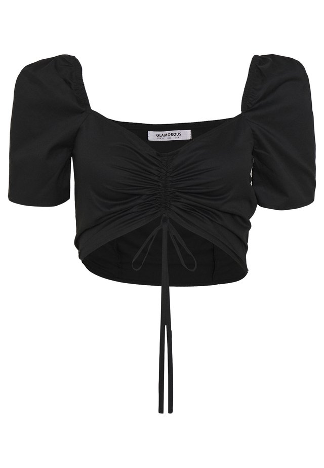 CROP TOP WITH RUCHED DETAIL - Blouse - black