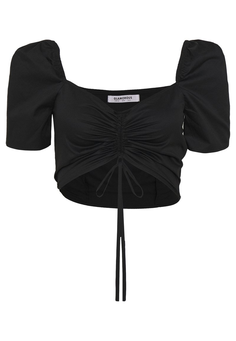 Glamorous - CROP TOP WITH RUCHED DETAIL - Blouse - black