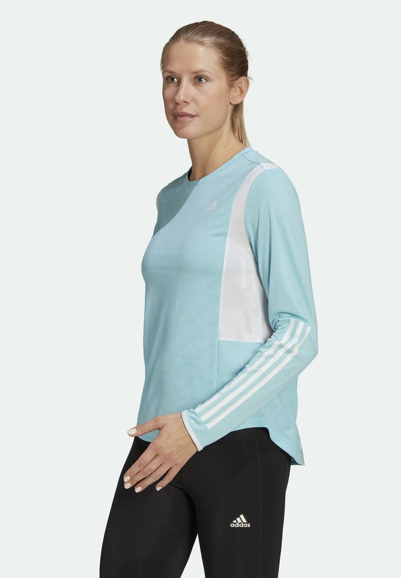 adidas Performance - OWN THE RUN 3-STRIPES RUNNING LONG-SLEEVE TOP - Long sleeved top - blue