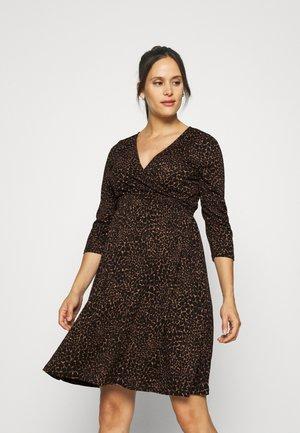 OLMPELLA 3/4 WRAP SHORT DRESS - Robe en jersey - black/beige