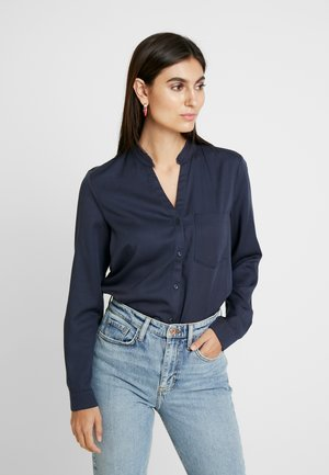 BLOUSE ROUND NECK WITH FRINGES - Button-down blouse - midnight sea