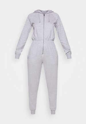 HOODED LOOP BACK - Jumpsuit - grey