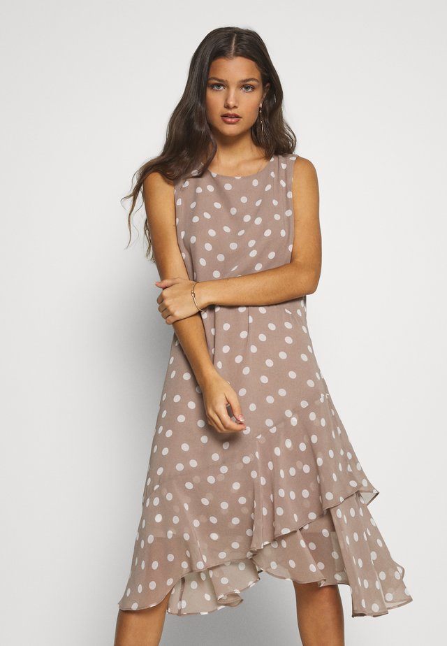 SPOT HANKY HEM DRESS - Day dress - taupe