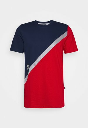 BLOCK TEE - T-shirt imprimé - red/blue