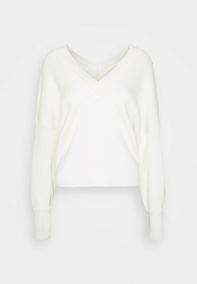 OBJKLEO CROP - Sweter - cloud dancer
