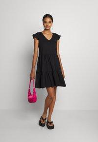 ONLY - ONLMAY LIFE CAP SLEEVES FRILL DRESS - Vestido ligero - black - 1
