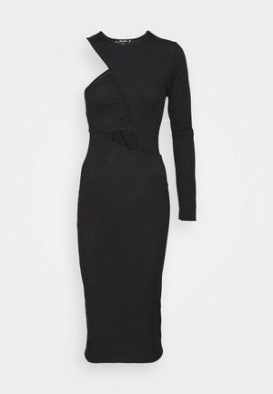 CUT OUT ONE SLEEVE MIDI DRESS - Žerzejové šaty - black