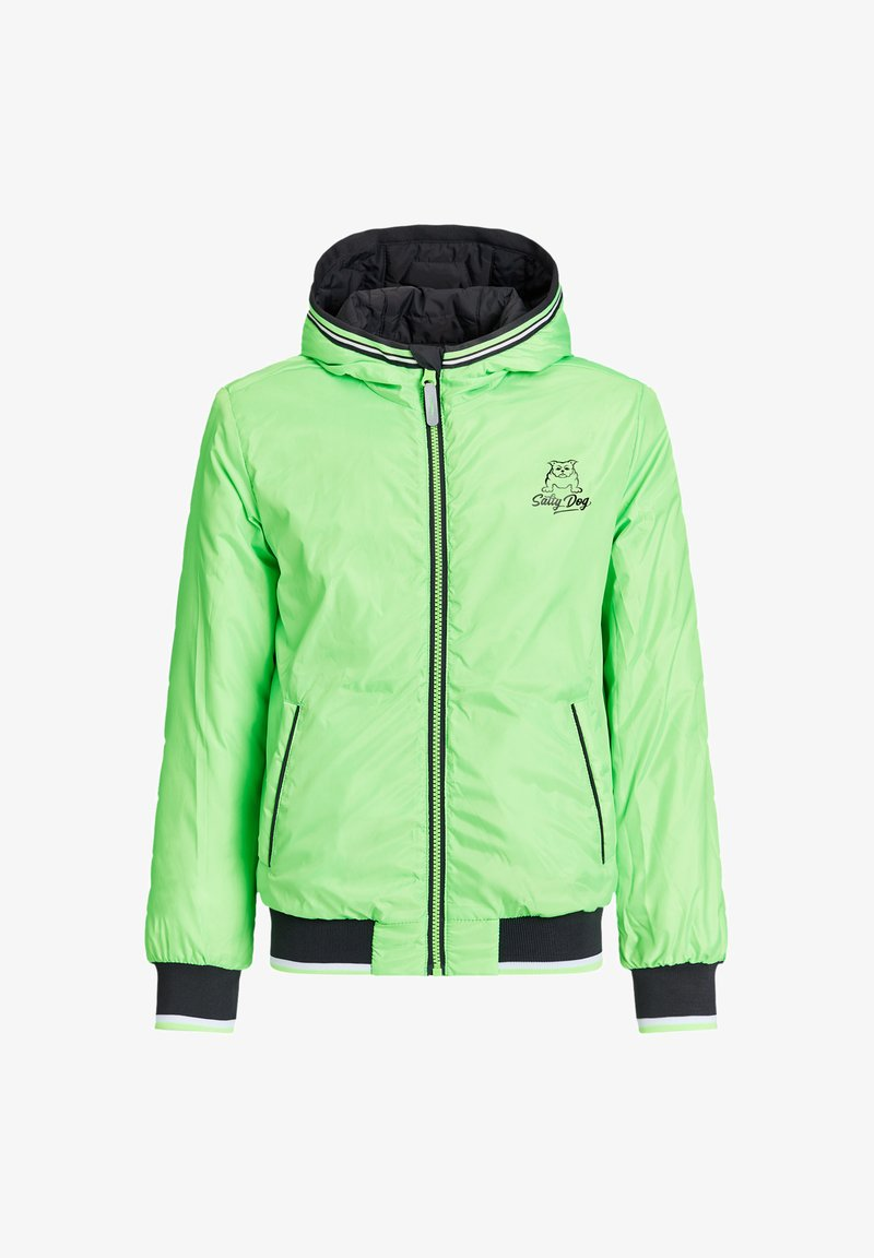 WE Fashion - ASHER REVERSIBLE  - Winter jacket - neon green, black