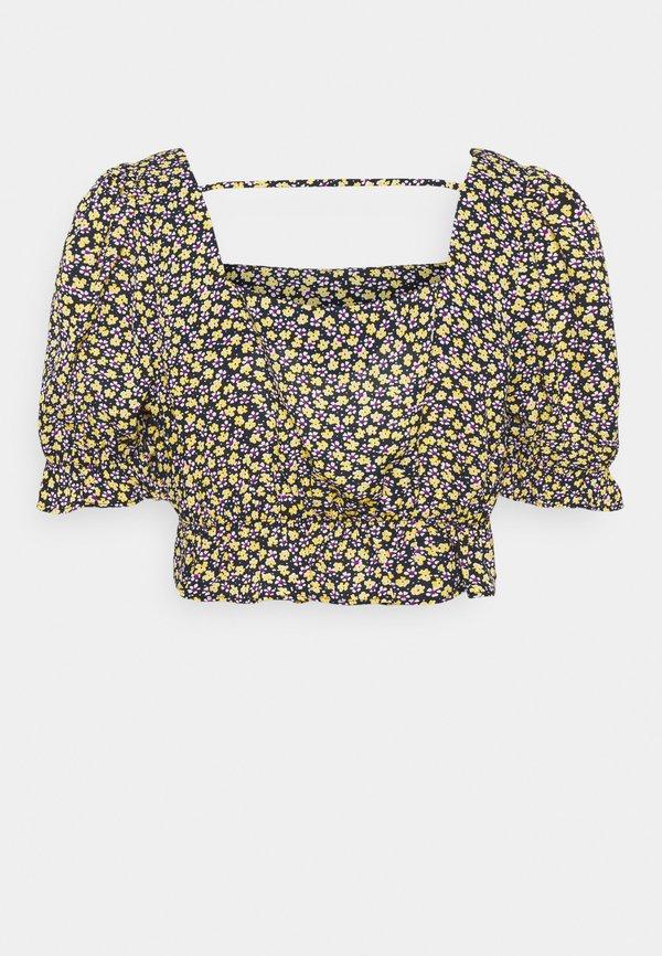 Pieces Petite PCMELLA CROPPED - T-shirt z nadrukiem - navy blazer/yellow/purple/white/granatowy RZUT