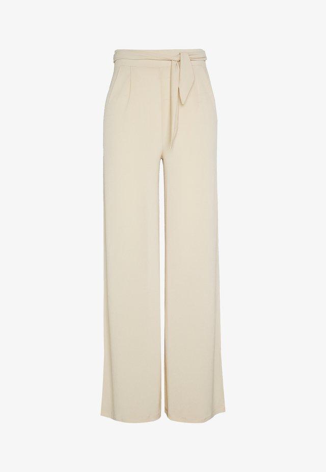 FLOWY TIE PANTS - Kangashousut - beige