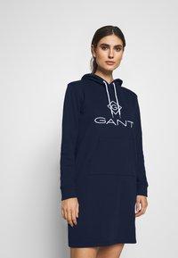 GANT - LOCK UP HOODIE DRESS - Robe d'été - evening blue - 0