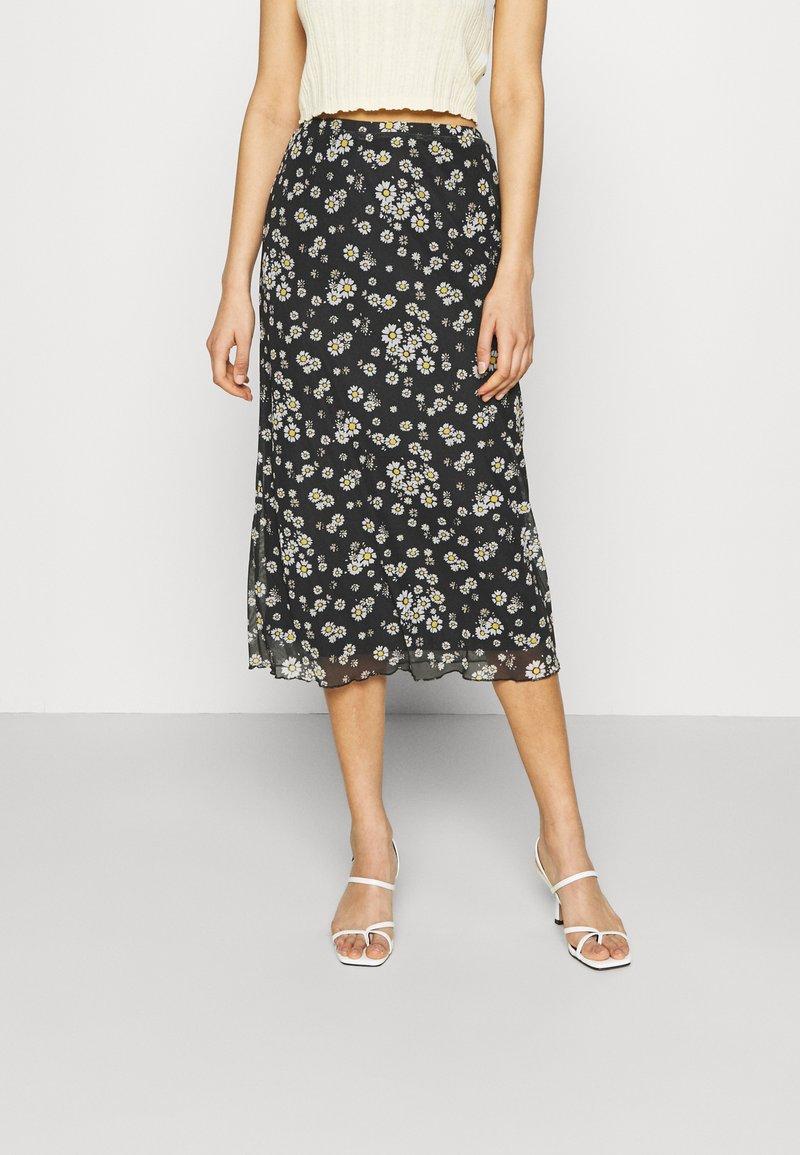 Even&Odd - Mesh midi skirt with lettuce hem - A-line skjørt - black