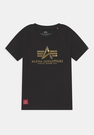 BASIC PRINT - T-shirt imprimé - black/yellow gold