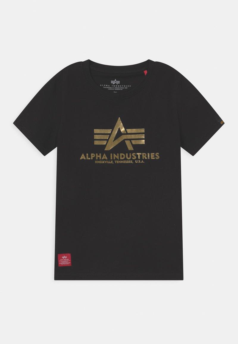 Alpha Industries - BASIC PRINT - T-shirt con stampa - black/yellow gold
