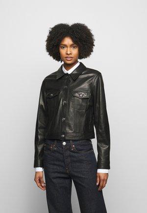 JUSTE JACKET - Leather jacket - black